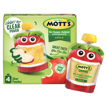 Mott's Applesauce Clear pouches, Apple, 4 Ct