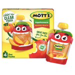Mott's Applesauce Clear pouches, Mango & Peach, 4 Ct - Water Butlers
