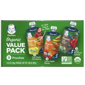 Gerber Toddler Baby Food Organic Value Pack, 9 Count