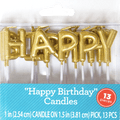 Happy Birthday Letter Candles, Gold, 13pc