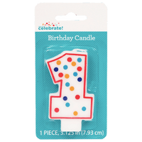 Polka Dot Birthday Candle, Number 1 - Water Butlers