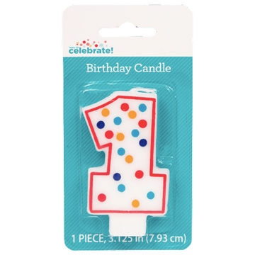 Polka Dot Birthday Candle, Number 1