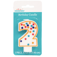 Polka Dot Birthday Candle, Number 2 - Water Butlers