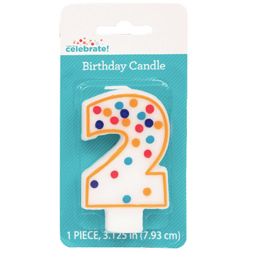 Polka Dot Birthday Candle, Number 2
