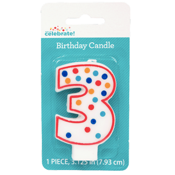 Polka Dot Birthday Candle, Number 3