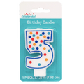 Polka Dot Birthday Candle, Number 5
