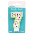 Polka Dot Birthday Candle, Number 7