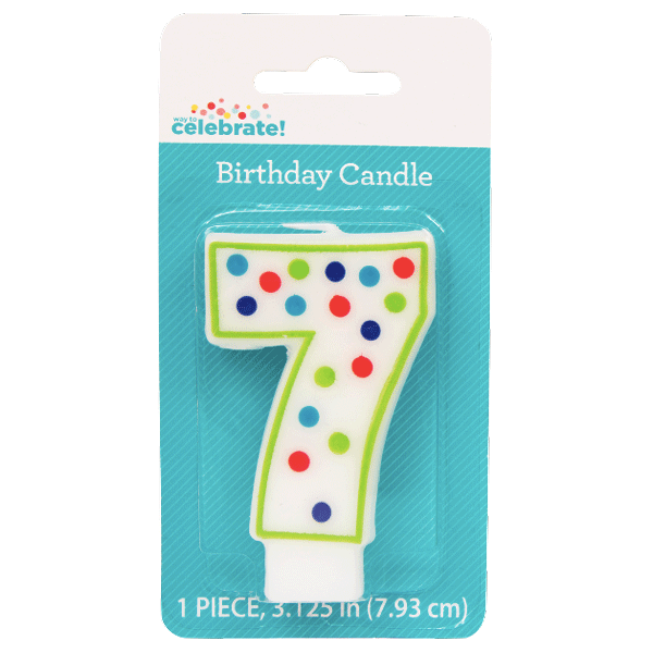 Polka Dot Birthday Candle, Number 7 - Water Butlers