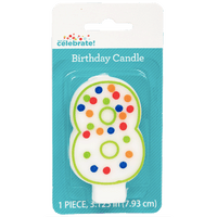 Polka Dot Birthday Candle, Number 8 - Water Butlers
