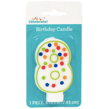 Polka Dot Birthday Candle, Number 8