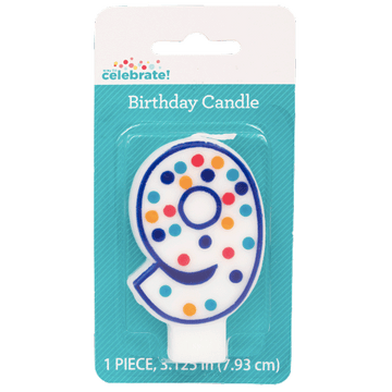 Polka Dot Birthday Candle, Number 9