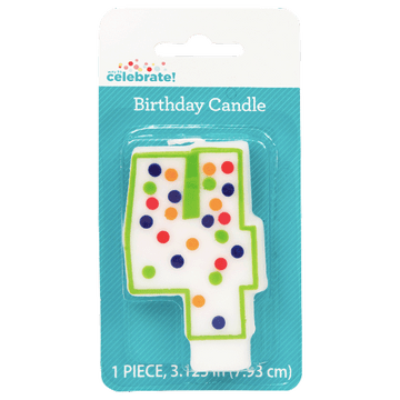 Polka Dot Birthday Candle, Number 4