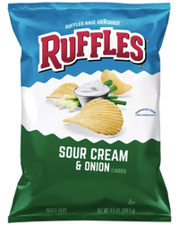 Ruffles Ridged Potato Chips, Sour Cream & Onion - 8.5oz - Water Butlers