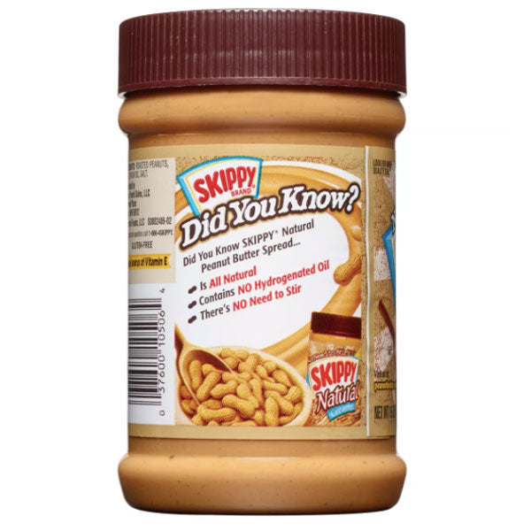 Skippy Natural Creamy Peanut Butter, 15 oz - Water Butlers