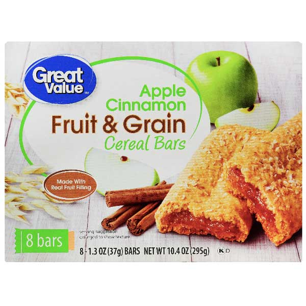 Great Value Fruit & Grain Bars, Apple Cinnamon, 8 Count - Water Butlers