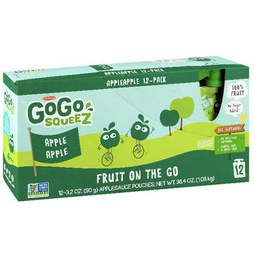GoGo squeeZ Applesauce, Apple 3.2oz, 12 Ct