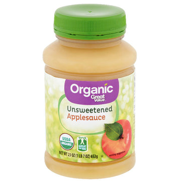 Great Value Organic Unsweetened Applesauce, 23 oz