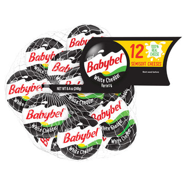 Mini Babybel White Cheddar Semisoft Cheese, 12 Ct