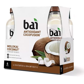 Bai Flavored Water, Malokai Coconut, 18 Fl oz. Bottles, 6 Ct