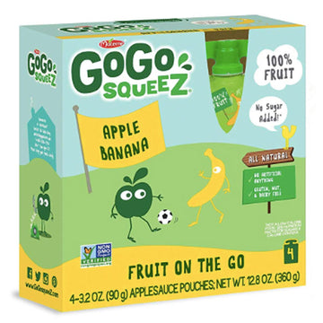 GoGo squeeZ Applesauce Banana 3.2oz, 4 Ct