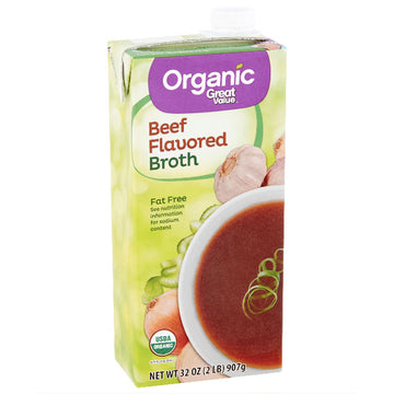Great Value Organic Beef Flavored Broth, 32 oz