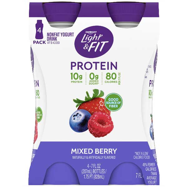 Dannon Light & Fit Mixed Berry Protein Yogurt Smoothies, 7 oz, 4 Ct - Water Butlers