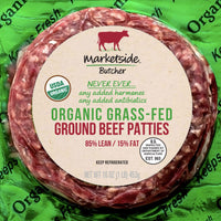 Marketside Organic Grass-Fed 85% Lean/15% Fat, Ground Beef, 1 lb - Water Butlers