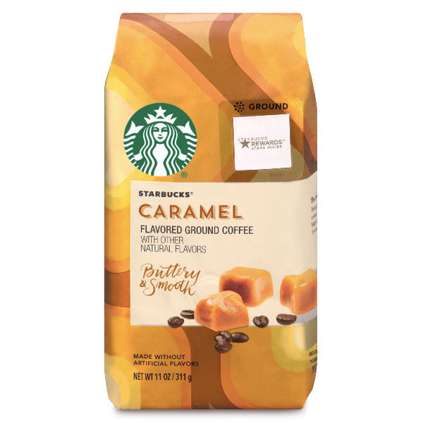 Starbucks Medium Roast Ground Coffee, Caramel, 11 oz - Water Butlers