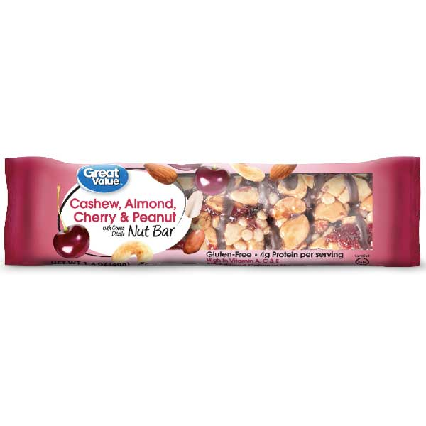Great Value Cashew, Almond, Cherry & Peanut Nut Bars, 4 Count - Water Butlers