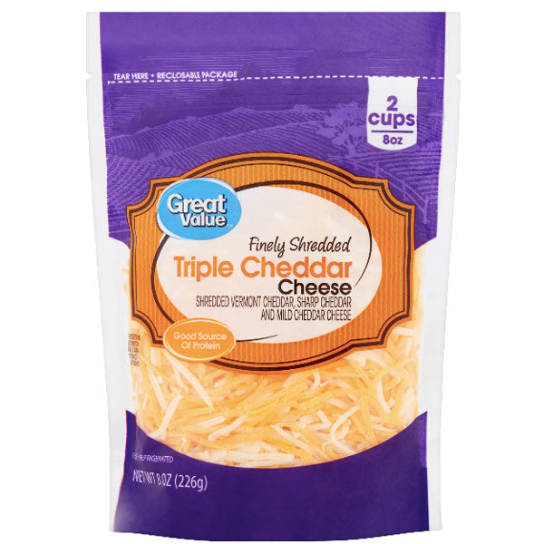 Great Value Finely Shredded Triple Cheddar Cheese, 8 oz - Water Butlers