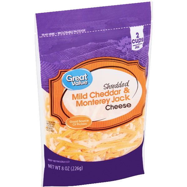 Great Value Shredded Mild Cheddar & Monterey Jack Cheese, 8 oz - Water Butlers