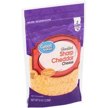 Great Value Shredded Sharp Cheddar Cheese, 8 oz