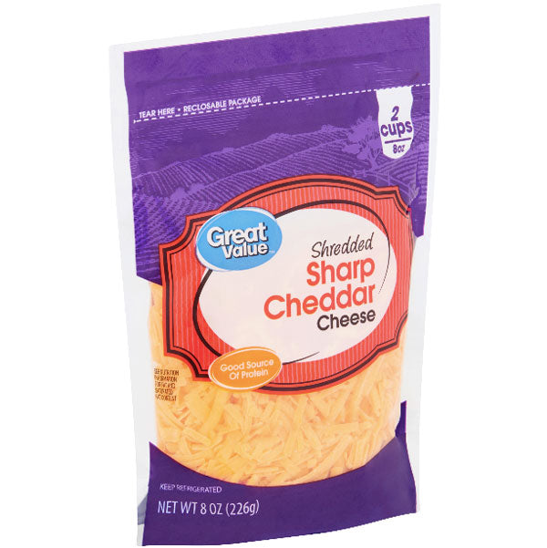 Great Value Shredded Sharp Cheddar Cheese, 8 oz - Water Butlers