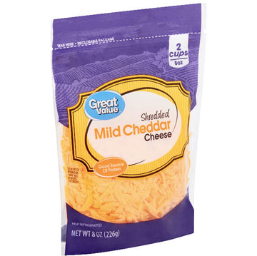 Great Value Shredded Mild Cheddar Cheese, 8 oz