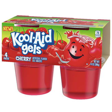 Jell-O Kool-Aid Gels Cherry, 3.5 oz, 4 Count