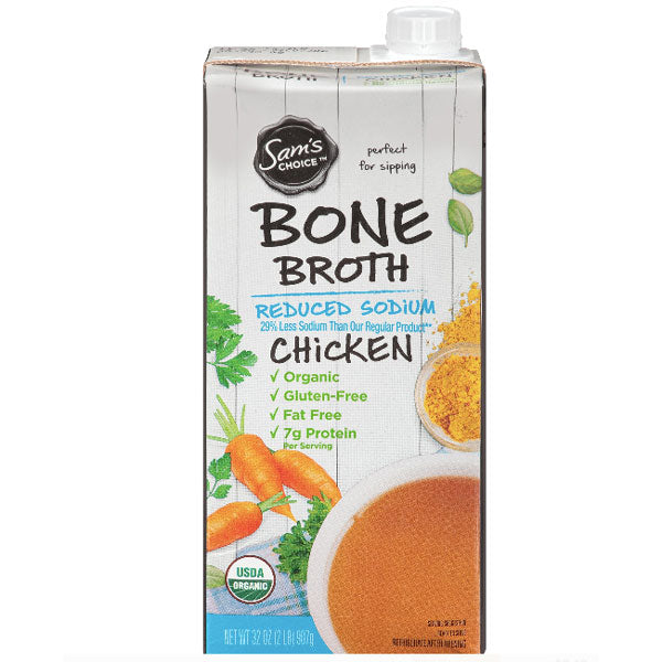 Sam's Choice Bone Broth, Reduced Sodium, Chicken, 32 oz - Water Butlers