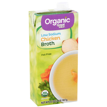 Great Value Organic Low Sodium Chicken Broth, 32 oz.