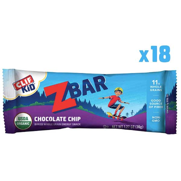 CLIF Kid ZBAR, Organic Granola Bars, Chocolate Chip Cookie, 18 Ct - Water Butlers
