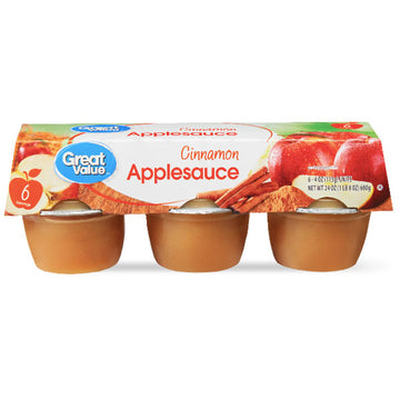 Great Value Cinnamon Applesauce, 4 oz, 6 Ct