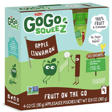 GoGo squeeZ Applesauce Cinnamon 3.2oz, 4 Ct
