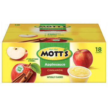 Mott's Cinnamon Applesauce, 4 Oz Cups, 18 Ct