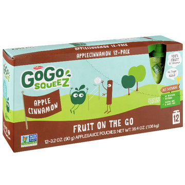 GoGo squeeZ Applesauce, Apple Cinnamon 3.2oz, 12 Ct