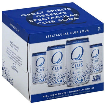 Q Drinks Club Soda, 7.5 fl oz Cans, 4 Ct