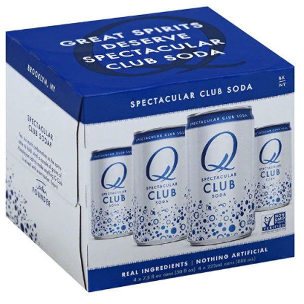 Q Drinks Club Soda, 7.5 fl oz Cans, 4 Ct - Water Butlers