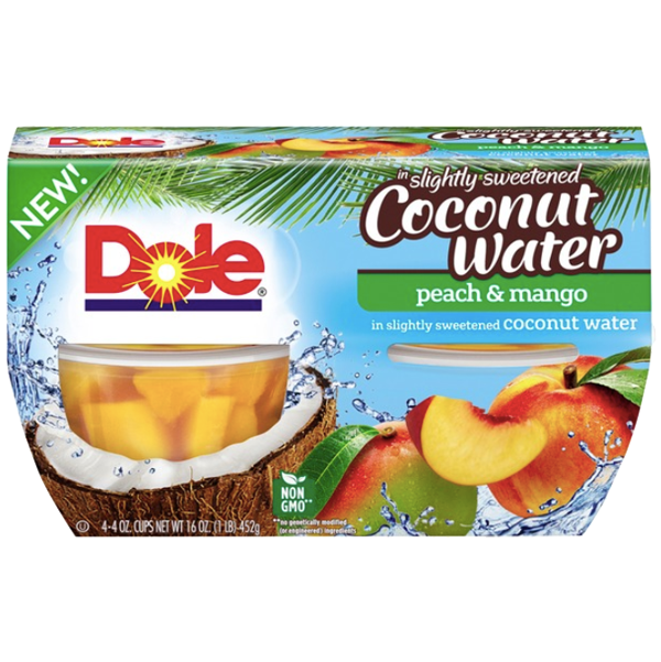 Dole Fruit Bowls, Coconut Water Peach & Mango, 4 Cups - Water Butlers