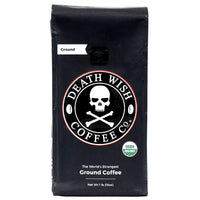 Death Wish Coffee Organic Fair Trade Strong Ground Coffee, 16 Oz - Water Butlers