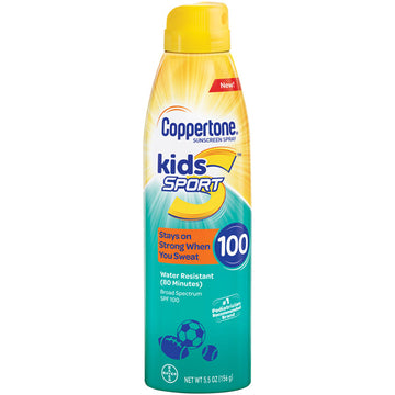 Coppertone Kids Sport Sunscreen Water Resistant Spray SPF 100, 5.5 oz