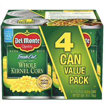 Del Monte Whole Kernel Canned Corn Value Pack, 4 Ct