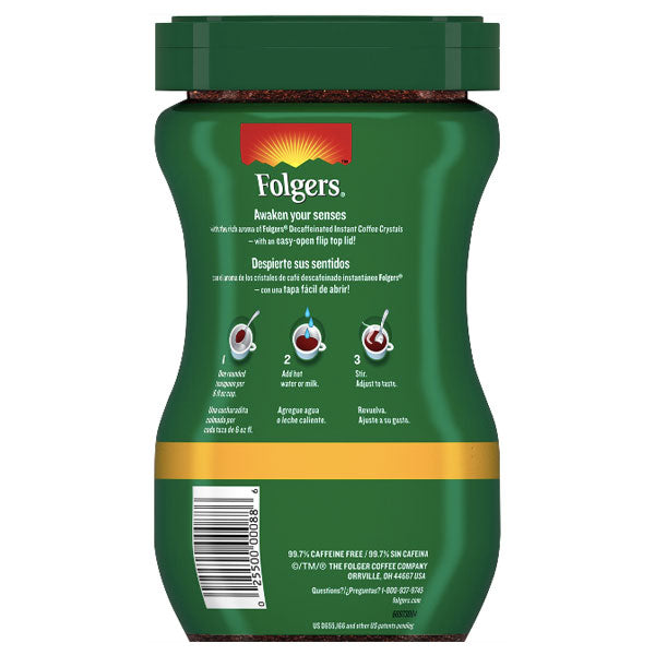 Folgers Decaffeinated Instant Coffee Crystals Classic Decaf, 8 oz - Water Butlers