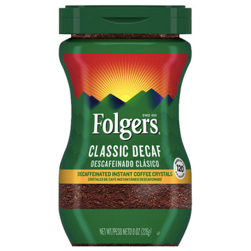 Folgers Decaffeinated Instant Coffee Crystals Classic Decaf, 8 oz